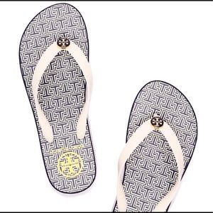Tory Burch Wedge Flip flops NEW Navy & White 6